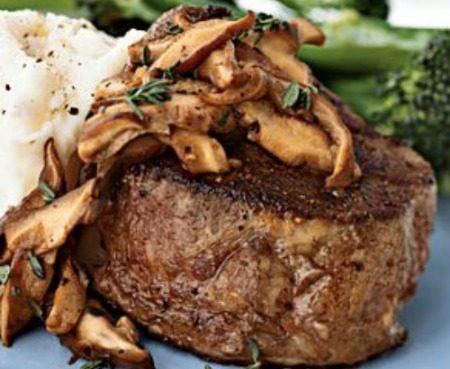 Beef tenderloin, mushroom cream sauce