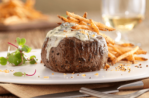 Halenda's Blue cheese crusted Steaks with Red Wine Sauce
